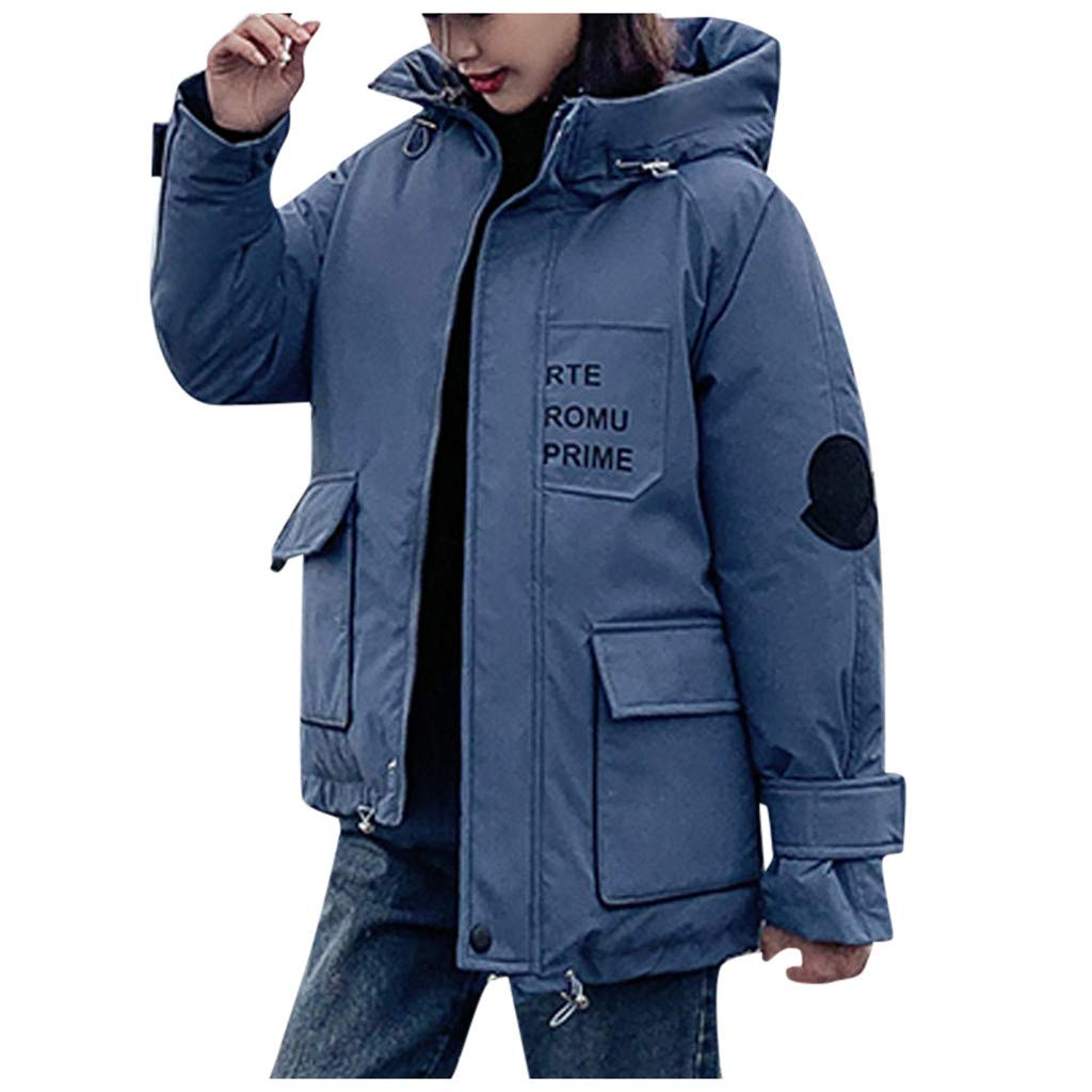 HCFKJ Women Tops Faux Fur with Cap Button Long Solid Jackets Pocket Coats(Blue,L) by HCFKJ