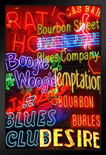 New Orleans NOLA French Quarter Bourbon Street Illuminated Neon Signs Photo Art Print Framed Poster 14x20 inch