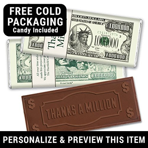 Embossed Bar - WH Candy Personalized Thank You Chocolate Bar (24 Count) - Embossed Thanks a Million - Free Cold Pack