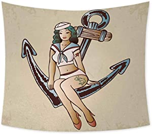 jecycleus Anchor Wall Large Tapestry for Bedroom Pinup Girl with Sailor Outfit Shark and Heart Tattoo Vintage Twenties Illustration Wall Art for Living Room Hanging W70 x L70 Inch Multicolor