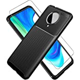 PULEN for Xiaomi Poco F2 Pro Case with Screen Protector (1 Pack),Shock Resistant Brushed Flexible Soft TPU Bumper Cover Phone