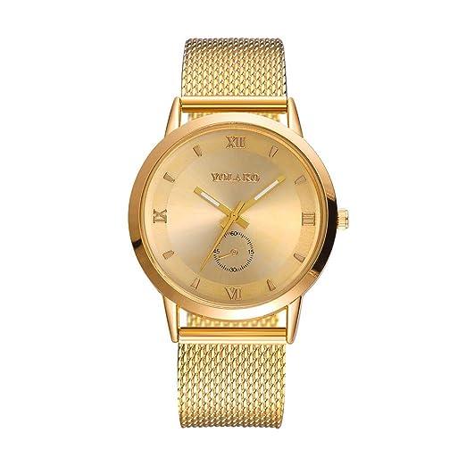 Reloj de malla de mujer, QinMM reloj de cuarzo de acero inoxidable (Dorado)