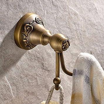 Gancho para toallas vintage FDLK,Continental base tallada baño cobre percheros,FDLK Vintage Antique Hat ropa de abrigo Toalla de baño Robe ganchos de pared ...