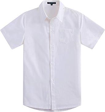 Spring&Gege Camisas de vestir de sarga de algodón formal de manga corta para niño