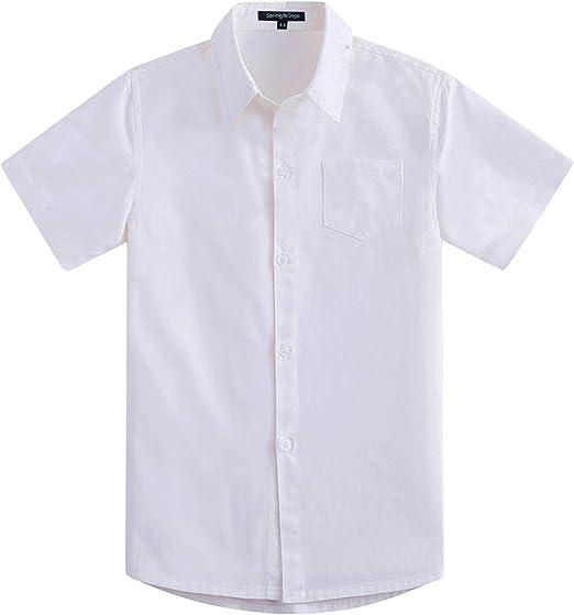 Spring&Gege Camisa de vestir de sarga de algodón de manga corta para niño Blanco blanco 3-4 Años: Amazon.es: Ropa y accesorios