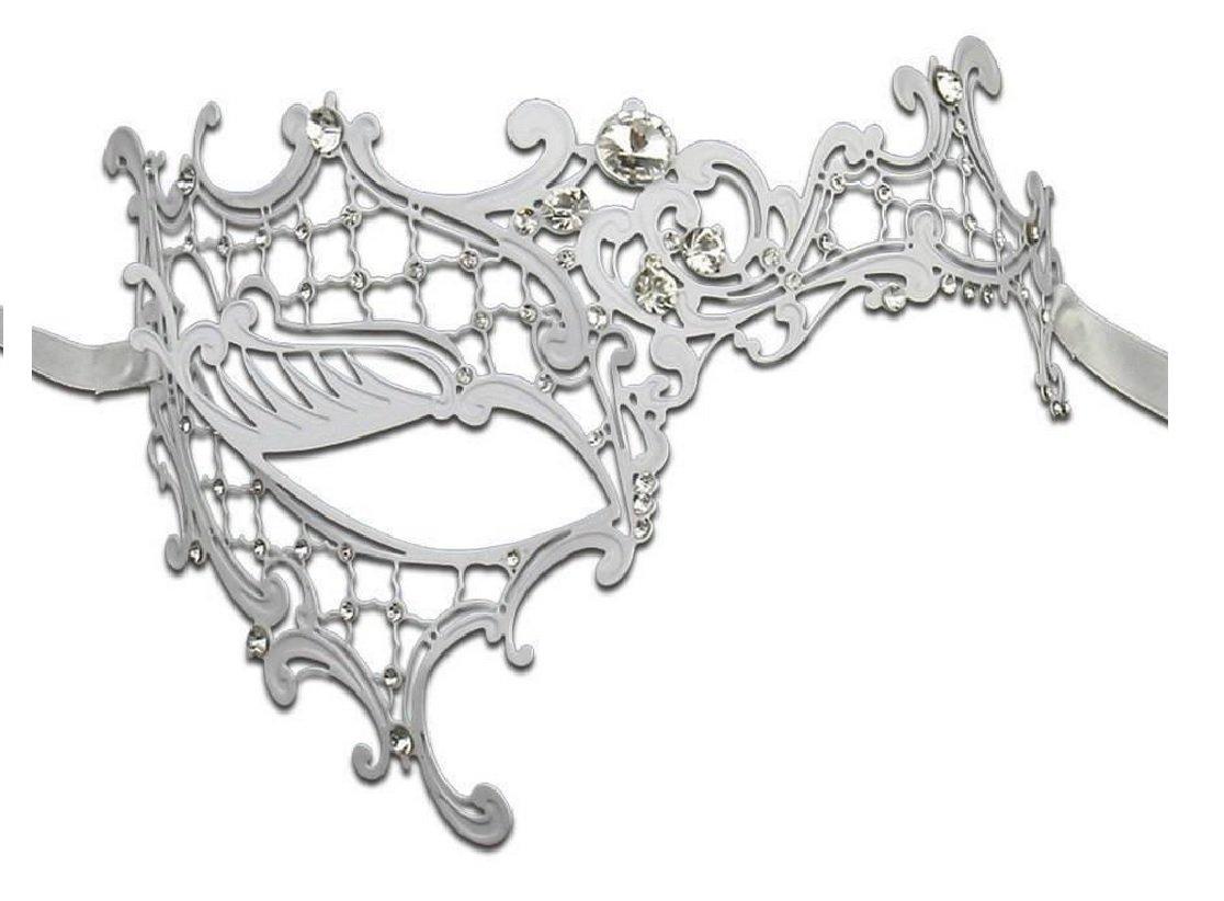 Venetian Masquerade Phantom Mask with Silver Swarovki - Silver (White)