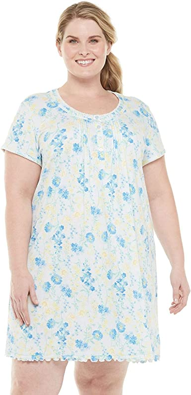 Miss Elaine Womens Plus Size Tricot Short Nightgown