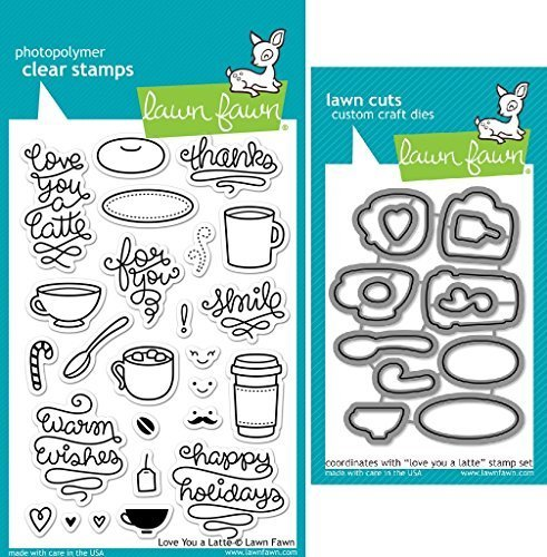 Lawn Fawn Love You A Latte Clear Stamp and Die Set - Includes One Each of LF704 (Stamp) & LF705 (Die) - Custom Set by Lawn Fawn