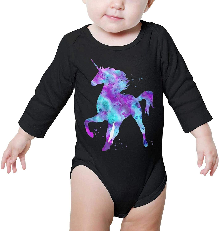Unicorn Rainbow Magic Long Sleeve Natural Organic Baby Onesies Bodysuits Novelty for Unisex Boys Girls