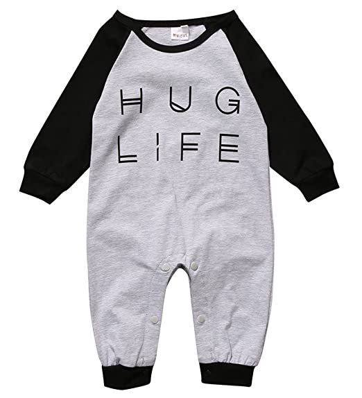 aad758ad2 Amazon.com  Baby Boy Girl Romper Letter Print Jumpsuit Playsuit ...