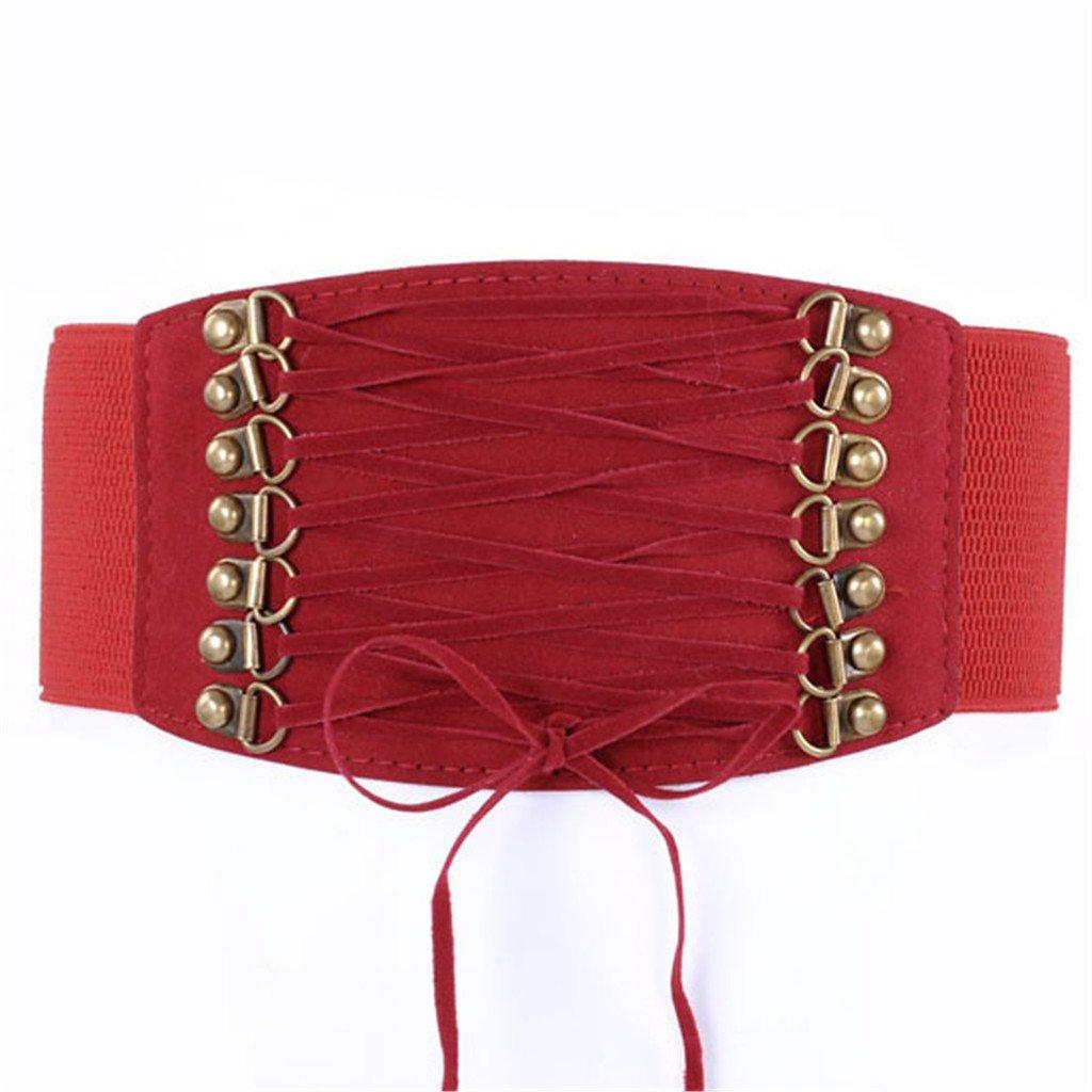 Ayliss Women Elastic Waistband Wide Band Tied Waist Cincher Belt 3Colors Brown AAUS42203
