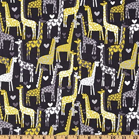 Michael Miller Giraffe Love Gray Fabric By The Yard by Michael