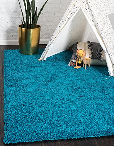 Unique Loom Solo Solid Shag Collection Modern Plush Turquoise Rectangle (6' x - Rugs Area Turquoise