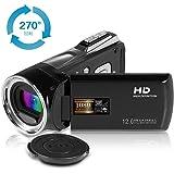 ビデオカメラ Funcam ポータブルビデオカメラ HD1080P 1200万画素 8倍デジタルズーム 2.7インチ液晶ディスプレイ 270° 回転スクリーン デジタルビデオカメラ 日本語説明書PDF