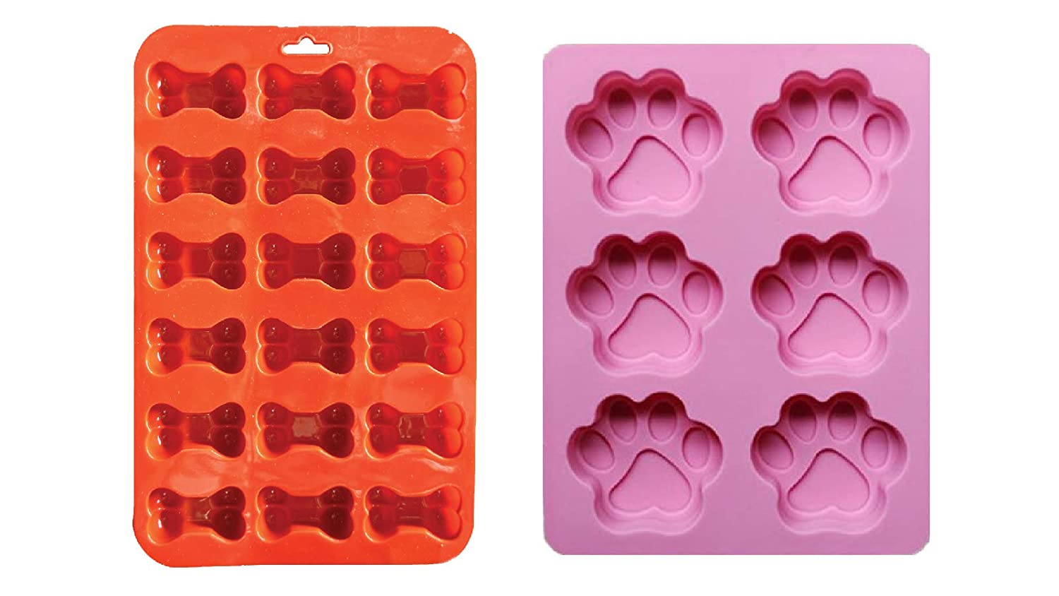 2 Pack Combo Silicone Molds Trays with Puppy Dog Paw and Bone Shape, Homemade Dog Treats, Baking Chocolate Candy, Oven Microwave Freezer Safe
