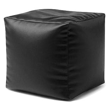 Outstanding Cube Bean Bag Faux Leather Black Beanbag Footstool By Bean Bag Bazaar Machost Co Dining Chair Design Ideas Machostcouk