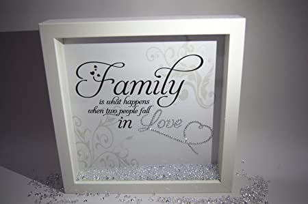 Family Is What Happens, Sparkle Crystal Frame, Word Art Pictures ...