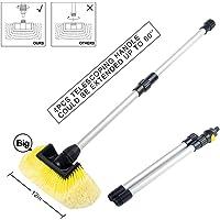 SENGO Car Wash Brush with 12'' Lock Type Soft Bristle Brush and 60'' Dismountable Pole with on/Off Switch for Maximum…