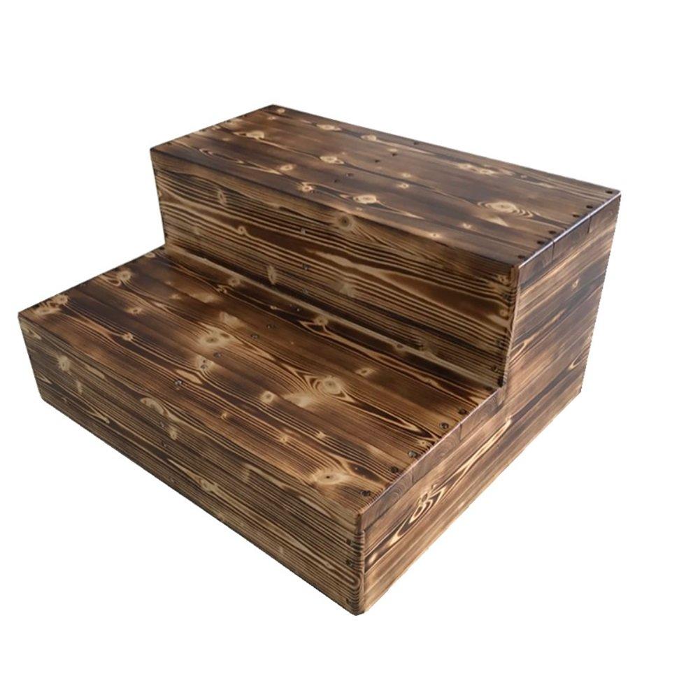 YXX- ブラック2トレッドステップスツール大人キッチン木製はしご小さな足のスツールホームウェアポータブルシューズベンチ/フラワーラック (サイズ さいず : 80*60*40cm) B07F63MM9R 80*60*40cm80*60*40cm