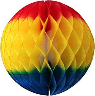 product image for 3-Pack 12 Inch Honeycomb Tissue Paper Ball Decoration (Rainbow Fiesta - Red/Gold/Turquoise)