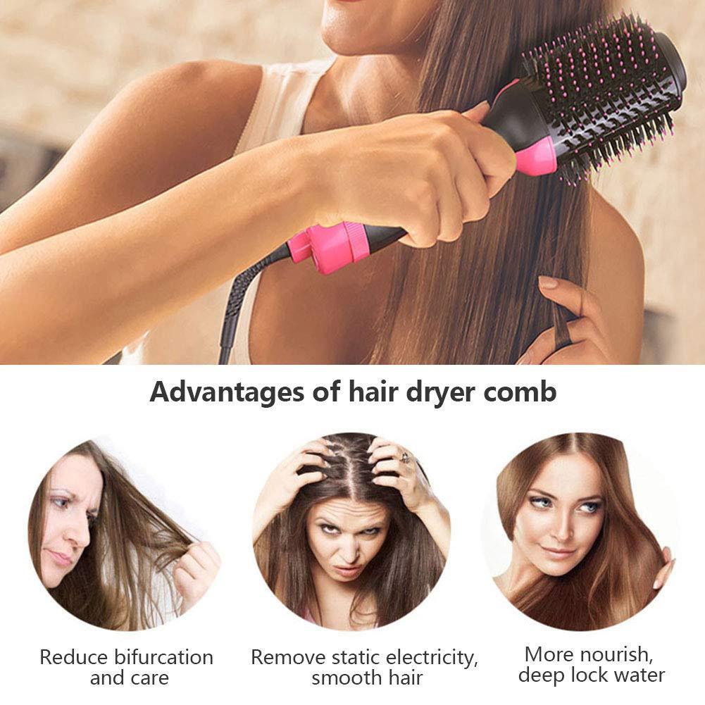 Cepillo de aire caliente Peine caliente Secador de pelo de iones negativos Cepillo de la plancha de pelo Cepillo rizador Cepillo del cabello secador de pelo ...