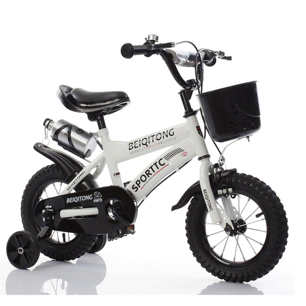 子供の自転車12|14|16|18|20インチ屋外の子供の赤ちゃんキッドマウンテンバイク黒のトレーニングホイールで2歳から11歳の男の子の女の子の贈り物|プラスチックバスケット|ウォーターボトル安全ダンピング B078K9BVMB 12インチ|白 白 12インチ
