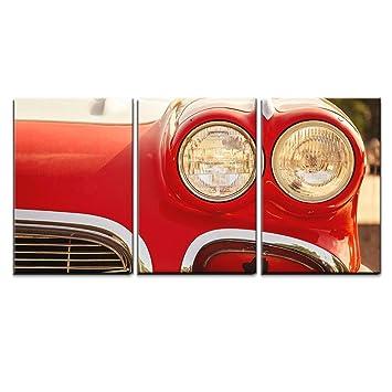 Vintage Red Car Headlight Wall Art Print