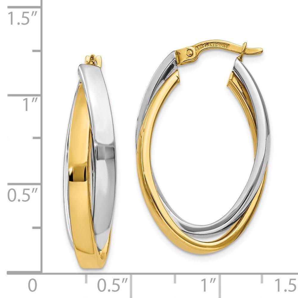Mia Diamonds 14k Gold Two-tone Oval Hoop Earrings