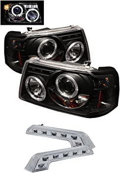 amazon com 2001 2008 ford ranger halo headlights projector head lights 8 led bumper lamps automotive 2001 2008 ford ranger halo headlights projector head lights 8 led bumper lamps