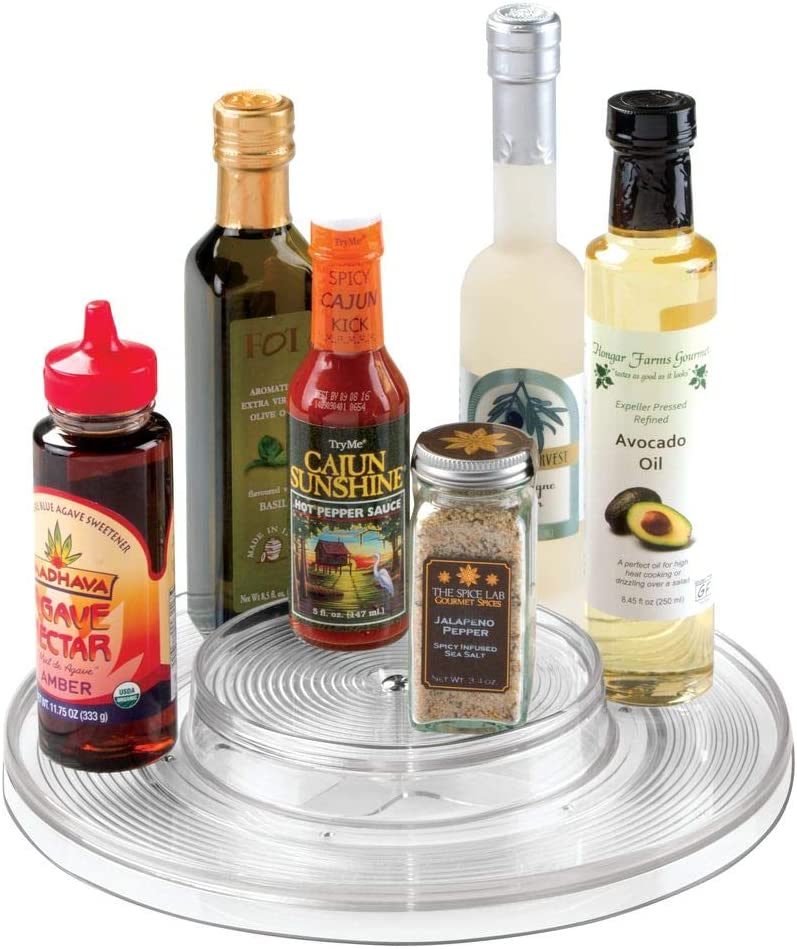 """mDesign Plastic Spinning 2 Tier Lazy Susan Turntable Food Storage Bin - Rotating Organizer for Kitchen Pantry, Cabinet, Refrigerator or Freezer - 11"""" Round - Clear"""