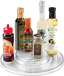 "mDesign Plastic Spinning 2 Tier Lazy Susan Turntable Food Storage Bin - Rotating Organizer for Kitchen Pantry, Cabinet, Refrigerator or Freezer - 11"" Round - Clear"