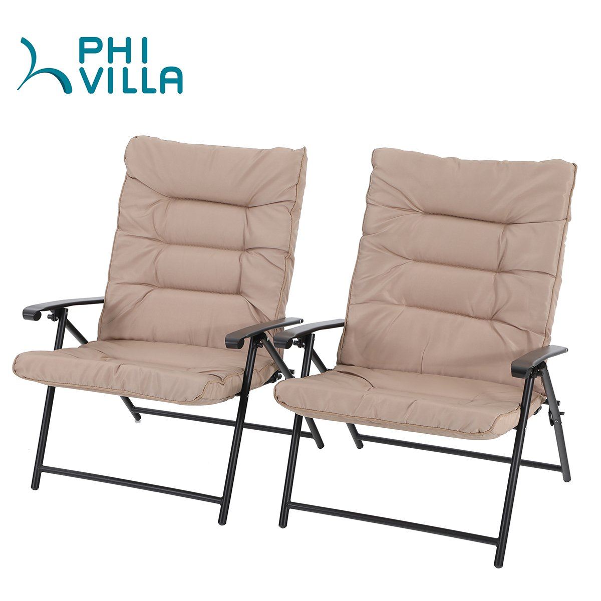 PHI VILLA Patio 3 PC Padded Folding Chair Set Adjustable Reclining 2 Position, Beige by PHI VILLA (Image #2)