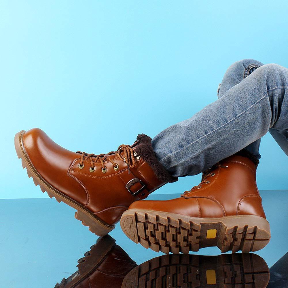 WANG-LONG Schuhe Herren Stiefel Martin Herbst Und Winter Plus Plus Plus Samt Warme Outdoor Leder Aus Leder Rutschfeste Mode High-Top,Light-braun-44 2566a9