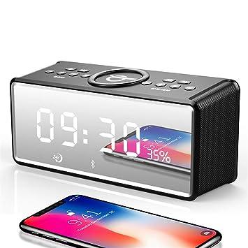 Mini despertador portátil con espejo Bluetooth para ...