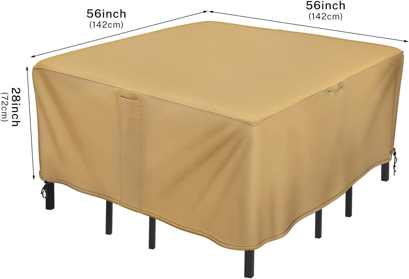 Sunkorto Fundas Muebles Jardín Cubierta Protectora para Mesas Sillas Bancos Sofás Patio Terraza Anti-UV Protección Impermeable contra Viento Lluvia Nieve, 600D Tela Oxford Resistente (142x142x72cm): Amazon.es: Jardín