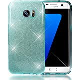 NALIA Glitter Case compatible with Samsung Galaxy S7 Edge, Ultra-Thin Mobile Sparkle Silicone Back Cover, Protective Slim-Fit Shiny Protector Skin, Shock-Proof Crystal Gel Bling Bumper - Cyan