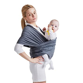 e280603b6ab Amazon.com   Baby Wrap Carrier Sling for Newborns Infants Toddlers Up to 35  lbs (Dark Grey)   Baby