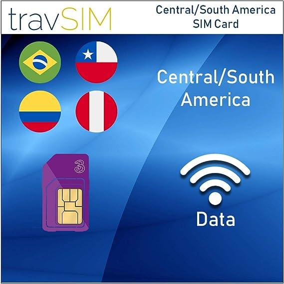 Amazon Com Travsim Three Uk Prepaid Central South America Sim