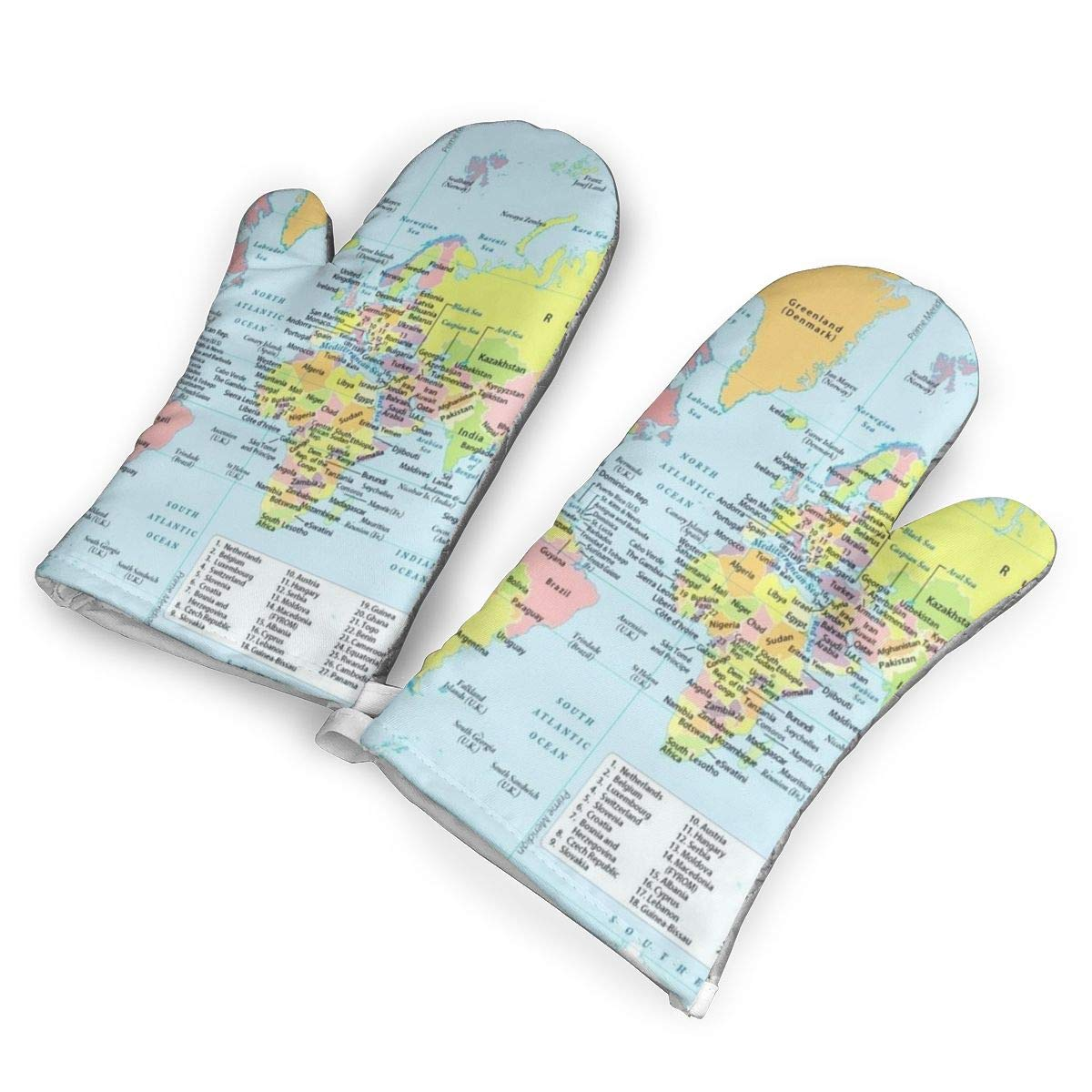 Feederm World Map with Countries and Capital Cities Oven Mitts,Professional Heat Resistant Microwave Oven Insulation Thickening Gloves Baking Pot Mittens Soft Inner Lining Kitchen Cooking
