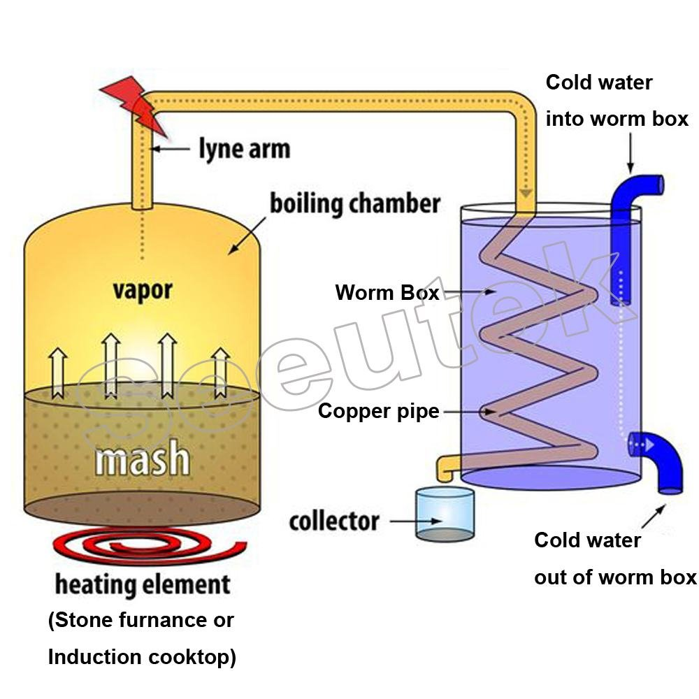 Seeutek 5 Gal 18 Litres Home Alcohol Water Distiller Copper Moonshine Still Kit Stainless Steel Spirits Boiler by Seeutek (Image #2)