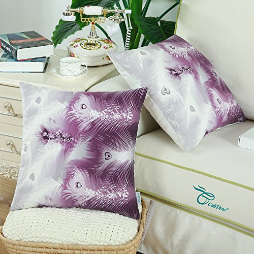 CaliTime Pack of 2 Cozy Fleece Throw Pillow Cases Covers for Couch Bed Sofa, Fantasy Peacock Feathers Print, 18 X 18 Inches, Purple