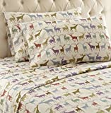 Thermee Micro Flannel Shavel Home Products Sheet Set, Reindeer Fantasy, Queen