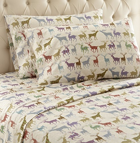 Thermee Micro Flannel Shavel Home Products Sheet Set, Reindeer Fantasy, California King (Reindeer Flannel)