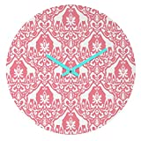 Deny Designs Jacqueline Maldonado, Giraffe Damask Salmon Pink, Round Clock, Round, 12''