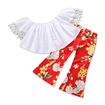 UK Toddler Kids Baby Girls Floral Off Shoulder Tops Bell-bottoms Pants Outfits