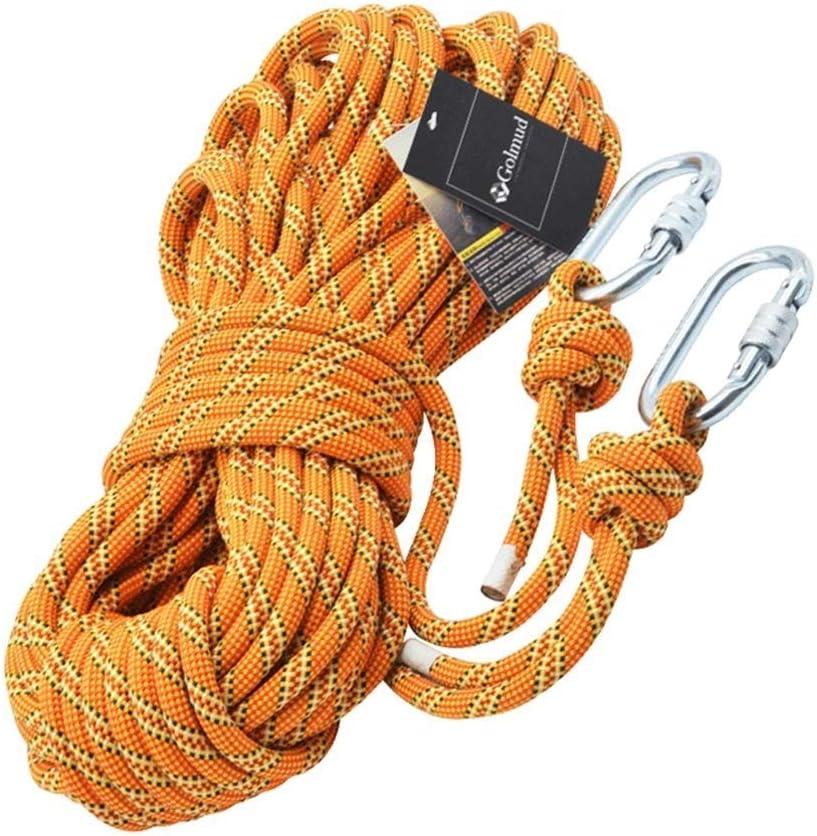 屋外ロッククライミングロープ、電源火災ロープエスケープ安全サバイバルロープ登山救助ハイキングロープ11ミリメートルナイロンユーティリティロープ タープロープ テントロープ (Color : 黄, Size : 200m) 黄 200m