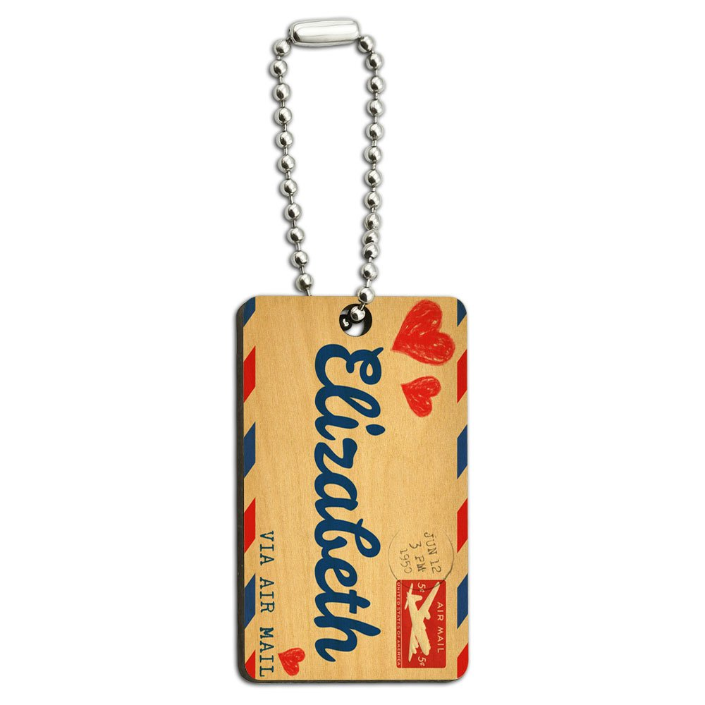 Air Mail Postcard Love for Elizabeth Wood Wooden Rectangle Key Chain