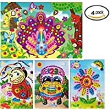 Vytung Mosaic Sticker Sticky Handmade DIY Art Kits for Kids Toddlers Animals- Sunflower Car Bee Peacock (Pack of 4)