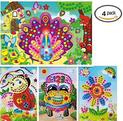 Vytung Mosaic Sticker Sticky DIY handmade Art Kits for Kids Toddlers Animals- Car Sunflower Peacock Bee (Pack of 4)