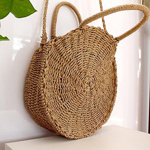 marrón de y pajita para para verano mujer Bolso de grande bolso mano de mujer playa hombro y de playa Canela con redondo bolso nq1F4pf